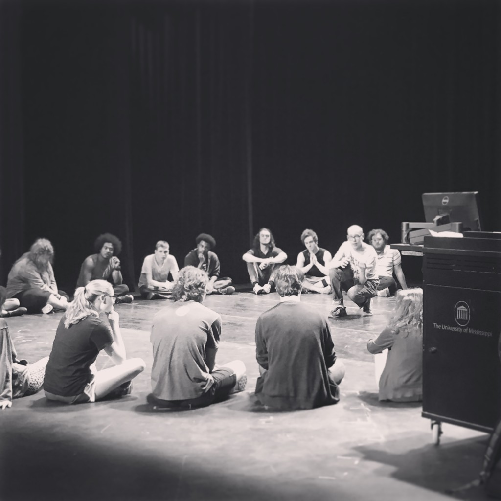 Actor Louis Butelli leads a workshop with students at the University of Mississippi