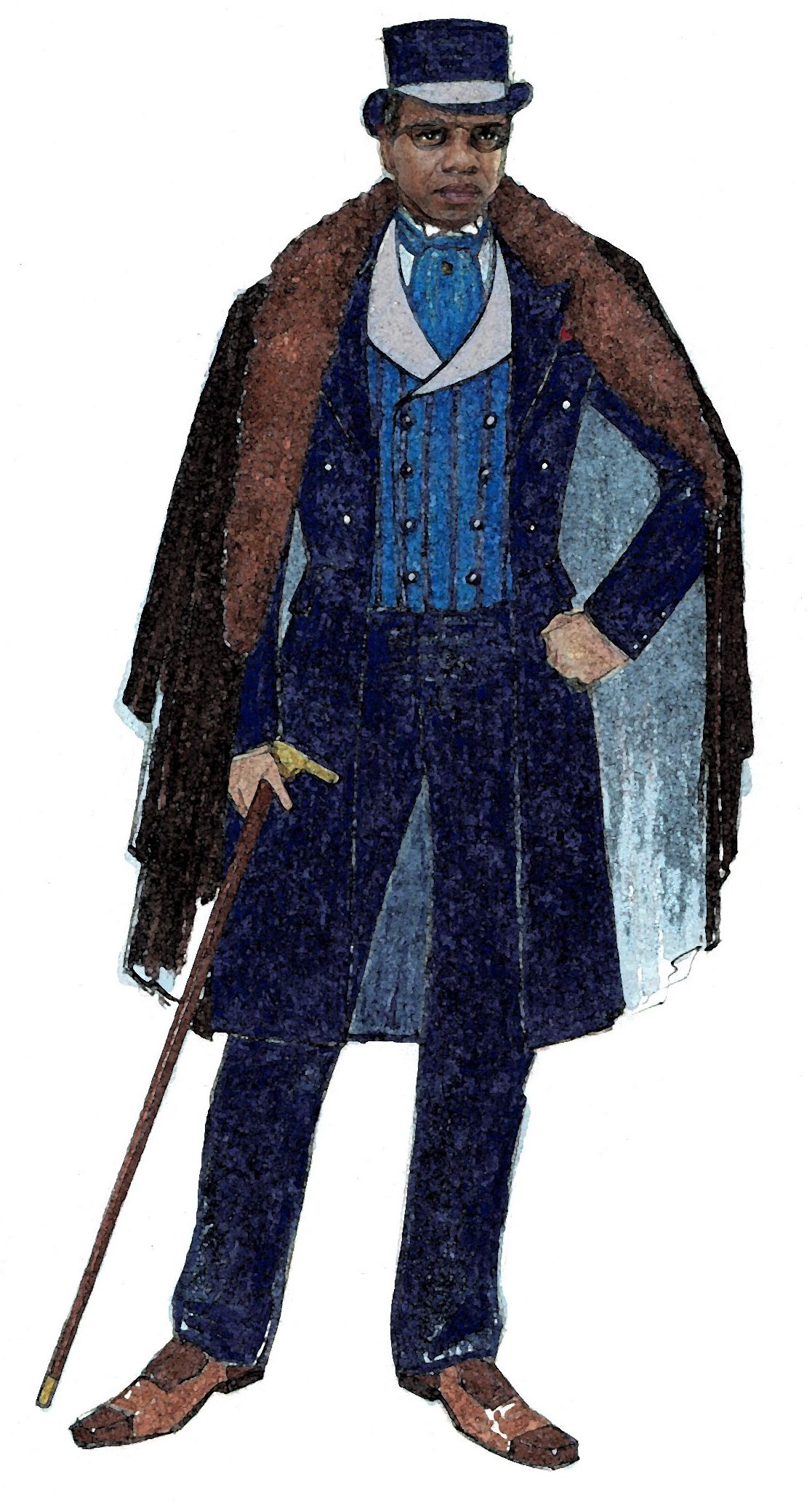 Costume sketch for Antoine played by Craig Wallace.