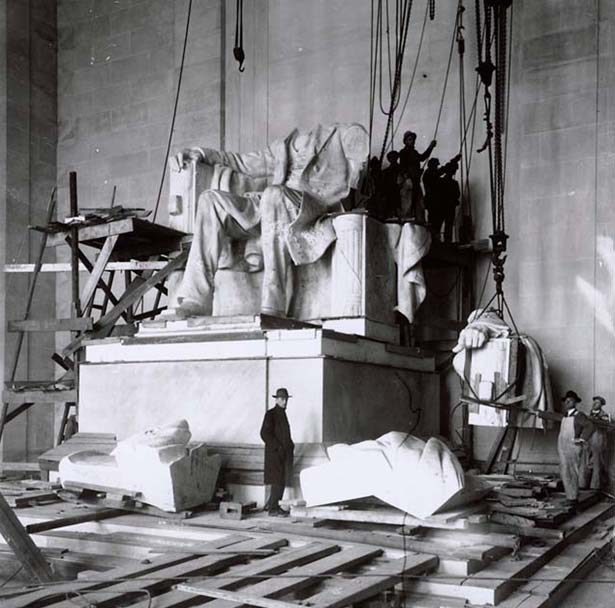Research image of the Lincoln Memorial under construction.