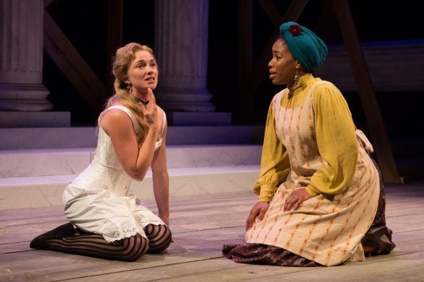 Maren Bush as Portia and Celeste Jones as Nessa. Photo by Teresa Wood.