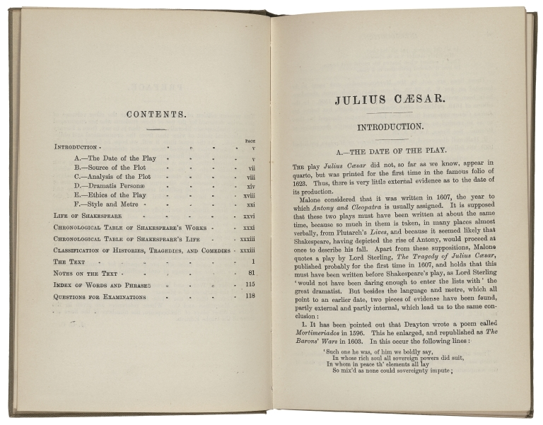 Table of Contents of Arnold School Shakespeare