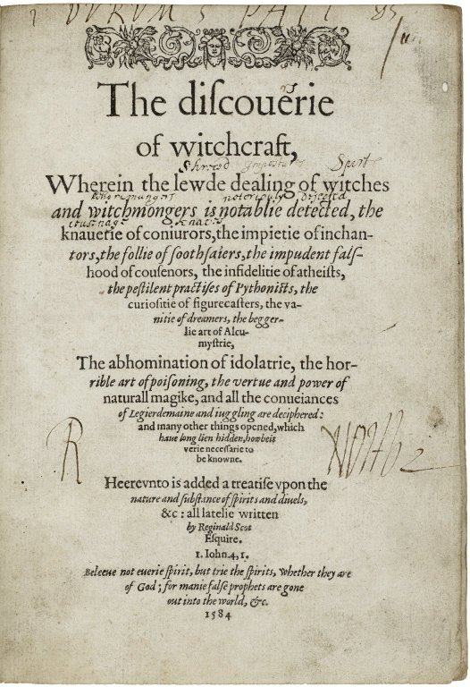 """Title page of 'The Discovery fo Witchcraft"""" by Reginald Scot"""