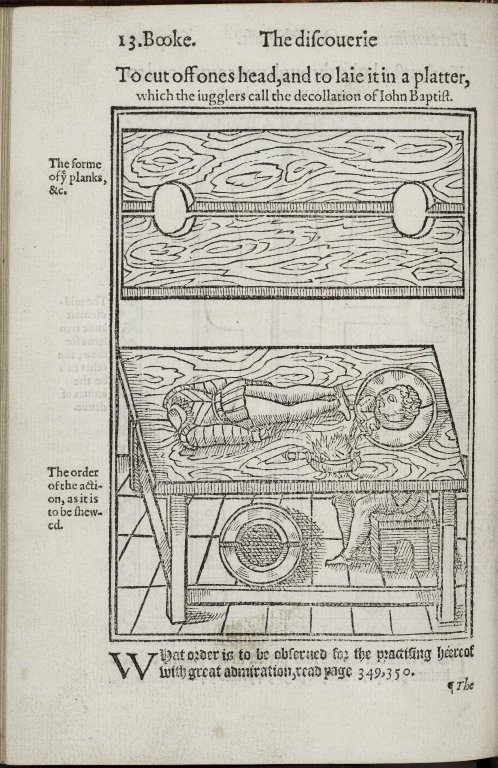 """Illustration from 'The Discovery of Witchcraft"""" by Reginald Scot, 1584."""