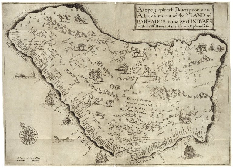 A true & exact history of the island of Barbadoes by Richard Ligon, 1673. Folger Shakespeare Library: L2076.