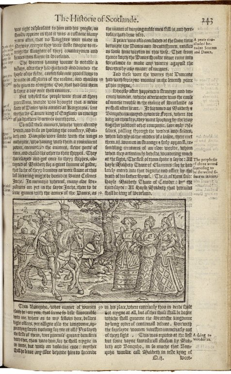Image of Holinshed's Chronicles showing Banquo and Macbeth meeting the witches