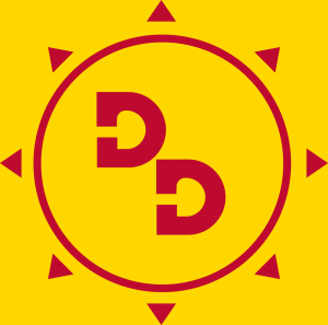 Logo for Duende District, two red D's in a circle on a yellow background