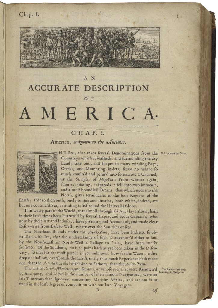 First page of 'An accurate description of America,' with an illustration across the top showing Western soldiers encountering an Indigenous tribe