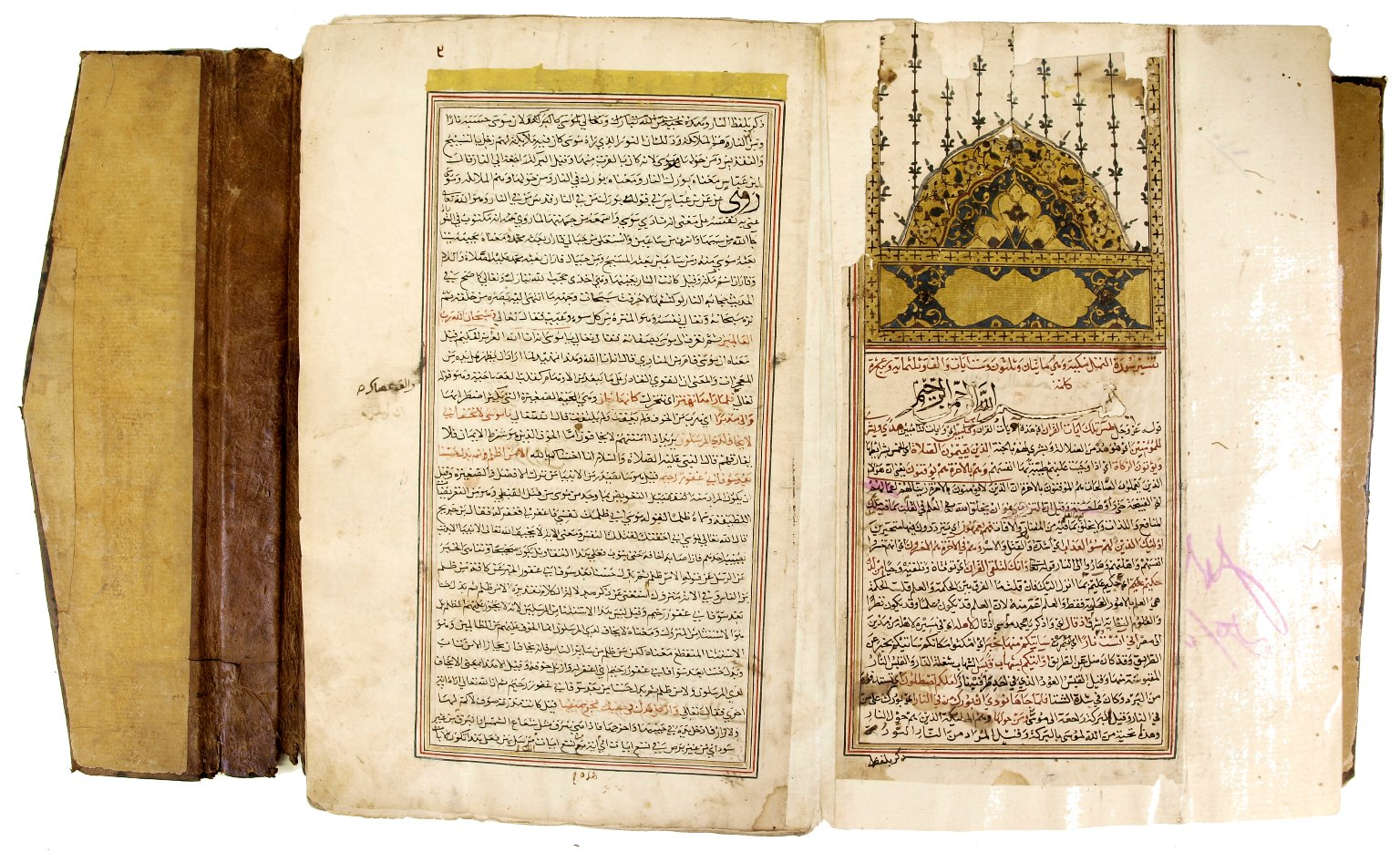 Multi-page manuscript with arabic writing and an elaborate black and gold decoration on the right-hand side