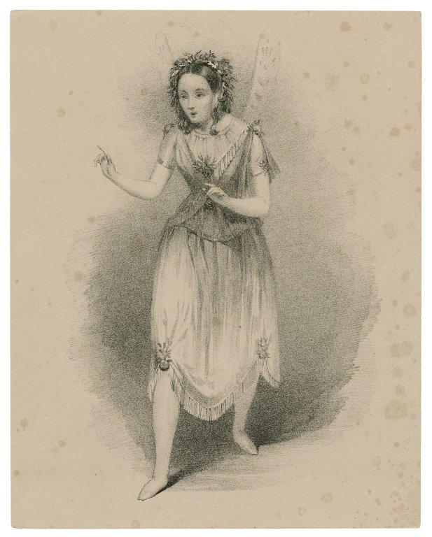 19th-century drawing of a woman with fairy wings and a balletic dress