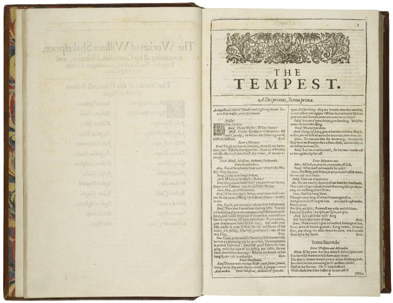 Page from the 1623 Folio of Shakespeare's works showing the first scene of the Tempest