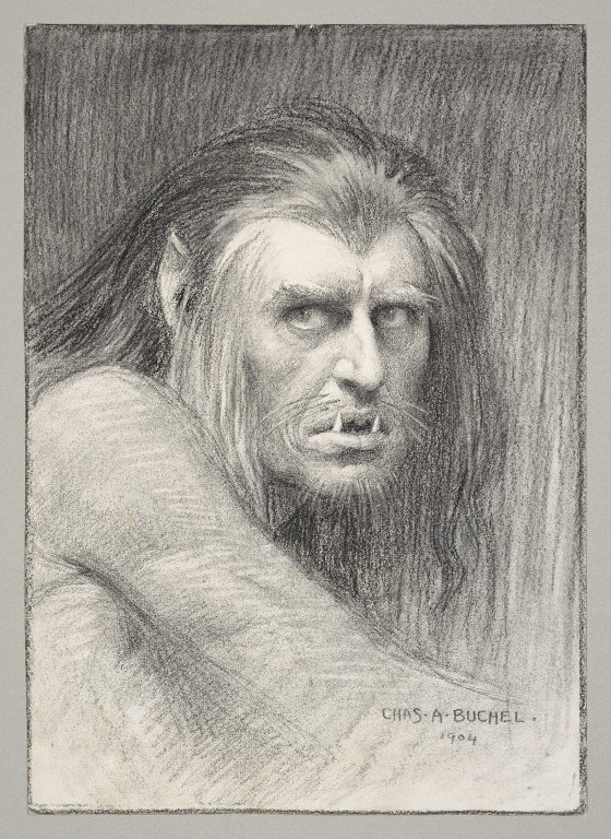 1904 drawing of a man in the role of Claiban with long hair, pointed ears, and fangs