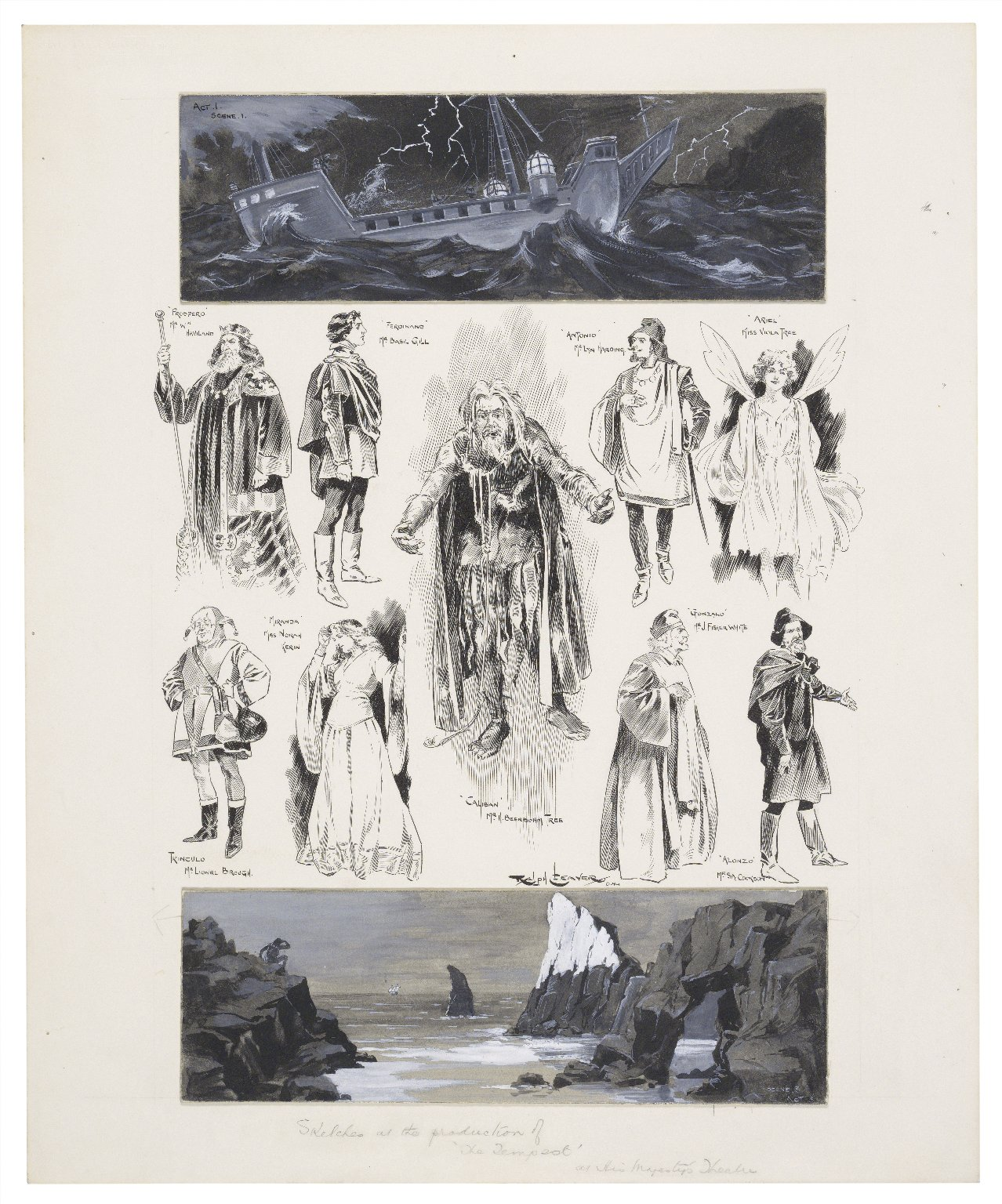 Collection of character sketches from a 1904 production of The Tempest, on the top is a picture of ship in a storm, on the bottom a picture of a small figure watching a boat on the horizon on a rock