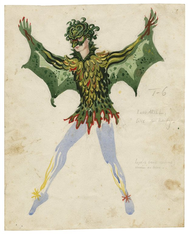 Color illustration of a figure with white tights, green scaled long sleeves top, green wings and a green bird-like mask