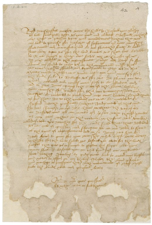 Piece of parchment with reddish handwriting in Elizabethan secretary hand