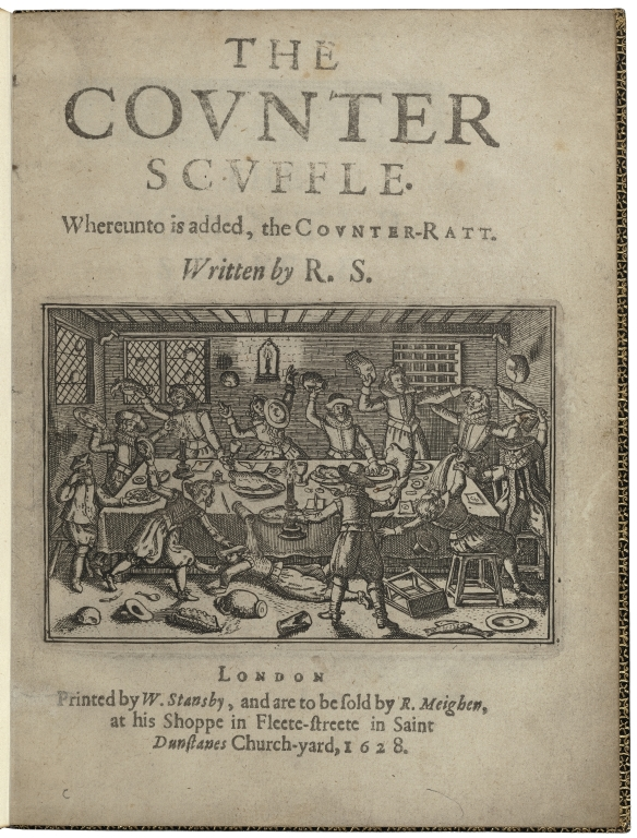 Frontispiece of The Counter-Scuffle with illustration of a group of men throwing food and drink at each other around a table