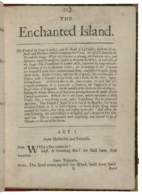 First page of The Enchanted Island, showing a lengthy stage direction and the opening lines of dialogue between Mustacho and Ventoso