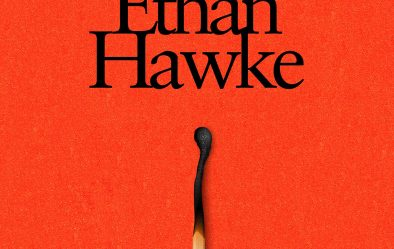 Book cover of A Bright Ray of Darkness by Ethan Hawke, red and white blocks with an image of a burnt match