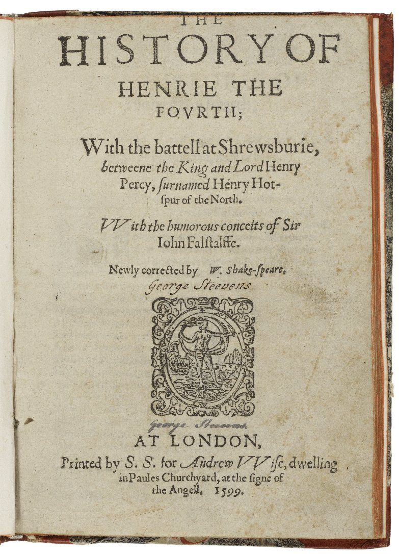 Title page of the 1599 printing of King Henry IV part 1