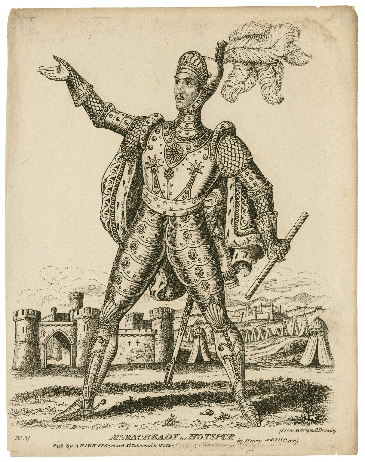Black and white 19th-century illustration of a man in elaborate armor standing with his arm upraised with a castle in the background