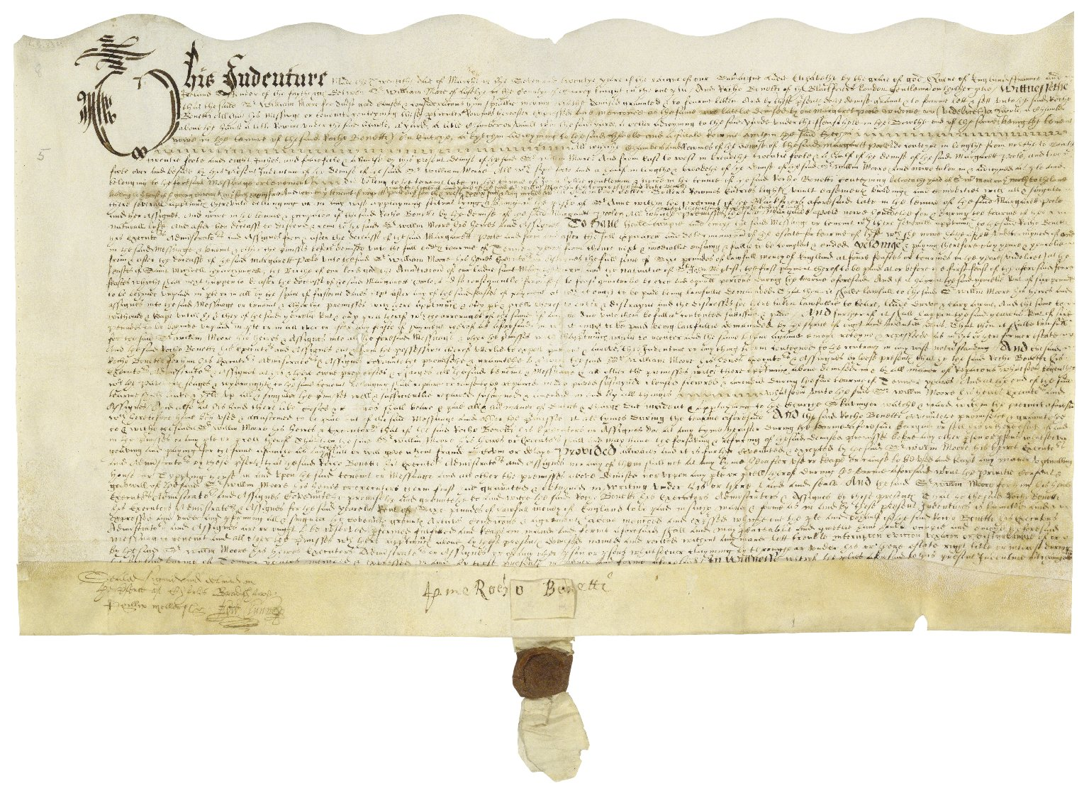 A large document with a wavy top edge and a seal hanging from the bottom, written tightly in early modern secretary hand