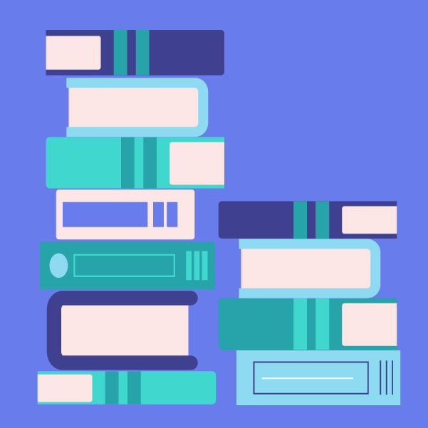 Graphic illustration of stacks of books in purple. aqua, and white