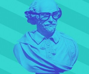 Bust of Shakespeare wearing thick rimmed glasses on an aqua background