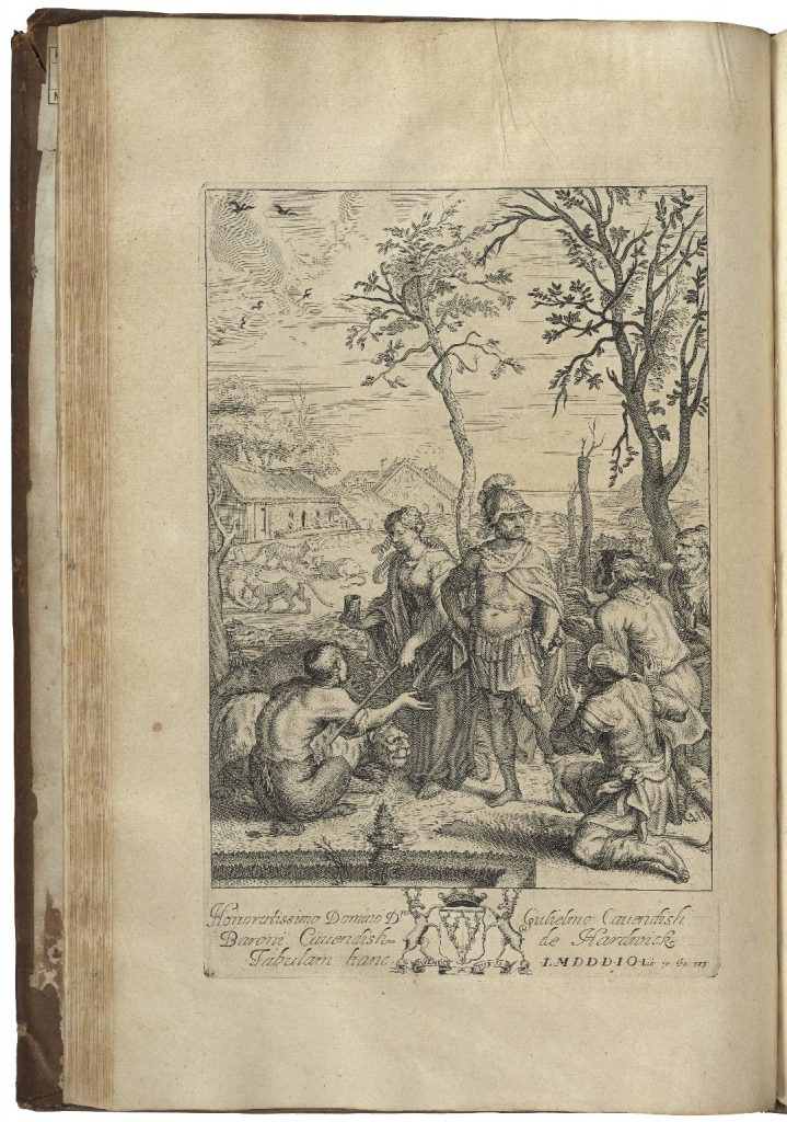 Illustration of Odysseus surrounded by his men in supplicated positions with Circe behind him