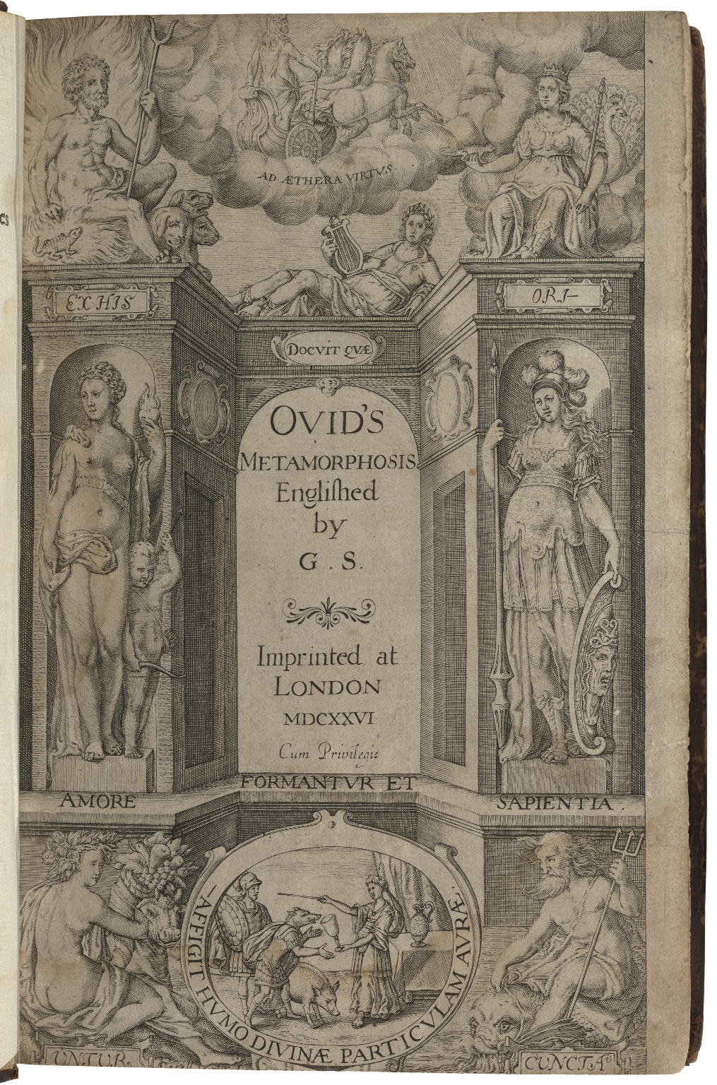 Title page of Ovids Metamorphses with illustrations of the stories around the border