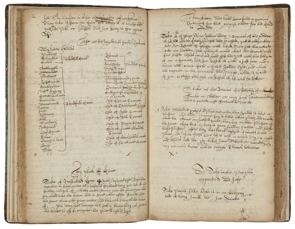 Two pages of a handwritten book of recipes including a lengthy two column list of ingredients on the left hand side