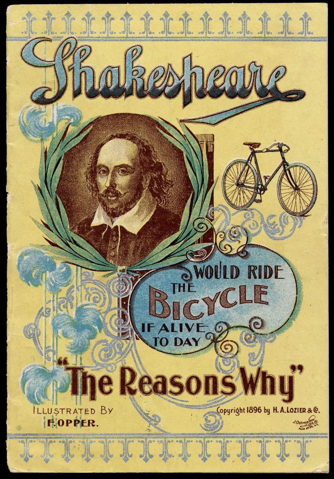 Cover of a 1896 advertising pamphlet for bicycles featuring a portrait of Shakespeare