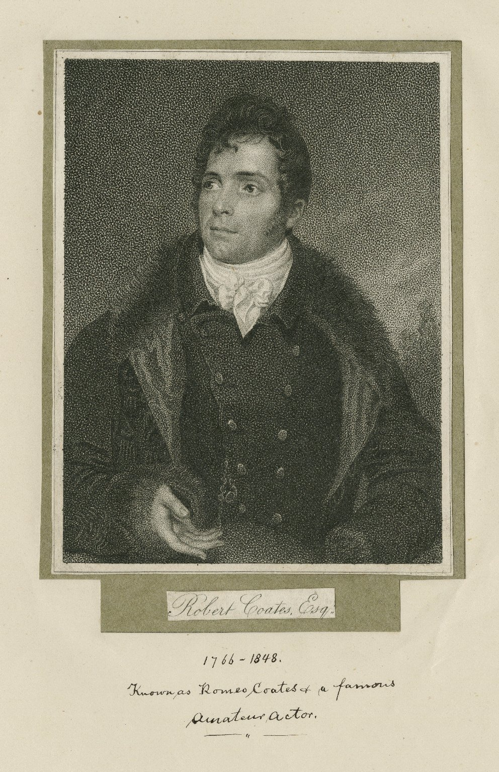 """Illustrated portrait of Robert """"Romeo"""" Coates shown in a fur coat; caption """"known as Romeo Coates a famous amateur actor"""""""