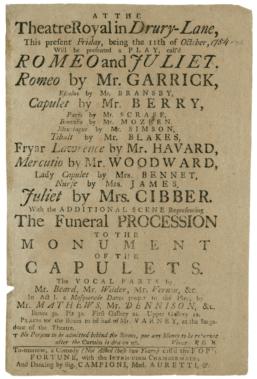 Playbill for a 1754 production of Romeo and Juliet starring David Garrick and advertising the funeral procession to the Capulet monument