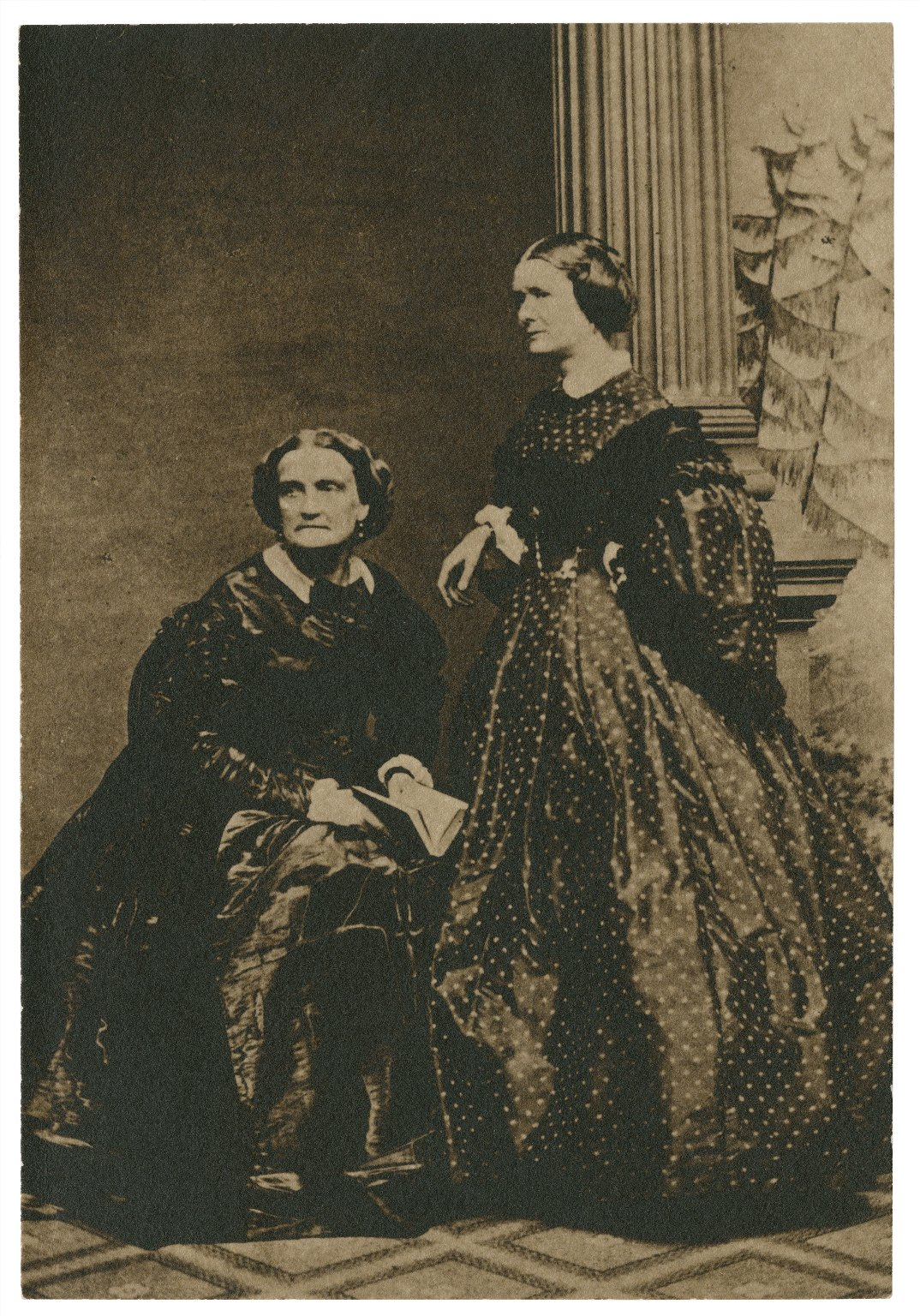 Photograph of two women in late-19th-century dress, the one on the left sitting and the one on the left standing