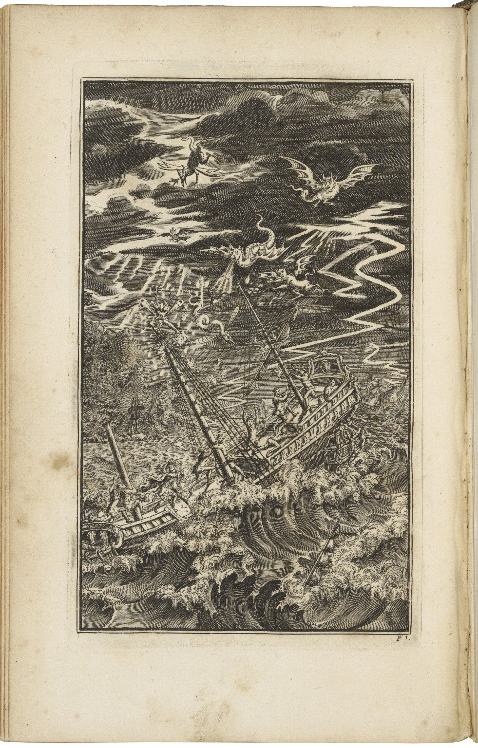 Early 18th-century illustration of shipwreck in The Tempest