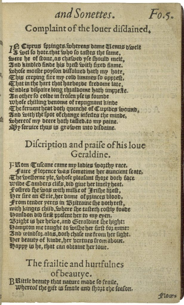 Page of a book showing three sonnets